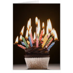 Cupcake with birthday candles cards