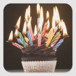 Cupcake with birthday candles square sticker