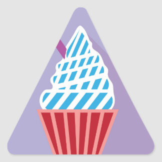 Cupcake with candle on the side triangle sticker