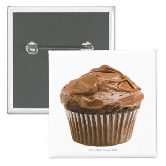 Cupcake with chocolate icing, studio shot 2 inch square button