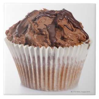 Cupcake with chocolate icing tile