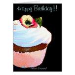 Cupcake with Pansy Art Design Birthday Card