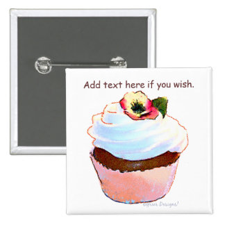 Cupcake with Pansy Art Design Magnet Pinback Button