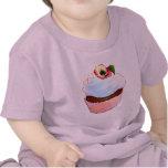 Cupcake with Pansy Art Design Tee Shirt