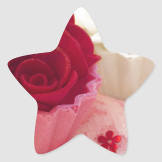 cupcake with roses star sticker