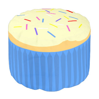 Cupcake with Sprinkles 2 (blue) Pouf