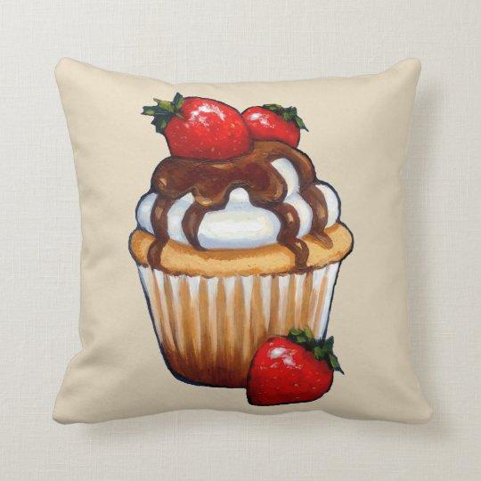 Cupcake with Strawberries, Chocolate, Original Art Throw Pillow