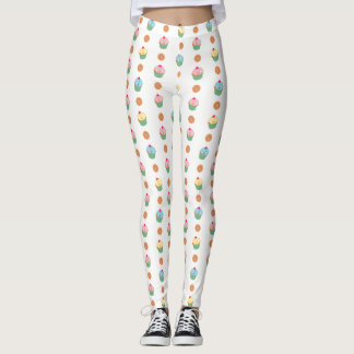 Cupcakes and cookies pattern (white background) leggings