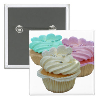Cupcakes and Hearts 2 Inch Square Button