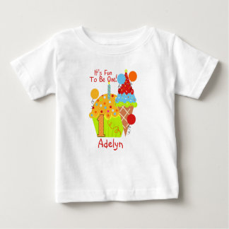 Cupcakes and Ice Cream Fun To Be One 1st Birthday Baby T-Shirt