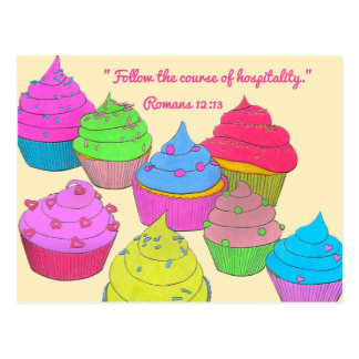 Cupcakes~Follow Course of Hospitality Scripture Postcard
