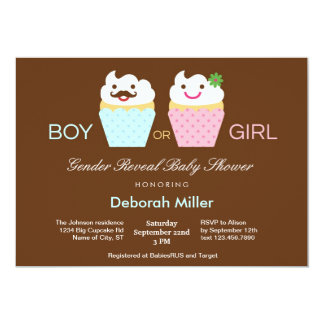 """Cupcakes Gender Reveal Baby Shower 5"""" X 7"""" Invitation Card"""