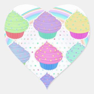 Cupcakes Heart Sticker