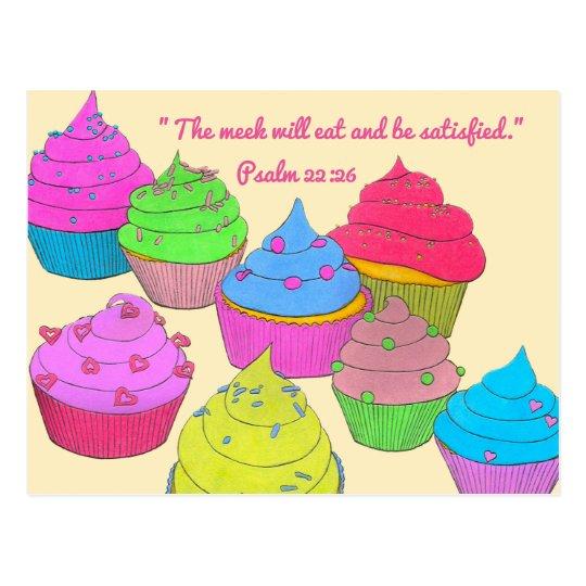 Cupcakes~Meek Eat & Satisfied Scripture Postcard