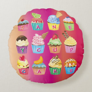 Cupcakes Monogram Delicious Sweet Baked Goodies Round Pillow