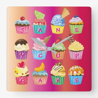 Cupcakes Monogram Delicious Sweet Baked Goodies Square Wall Clock