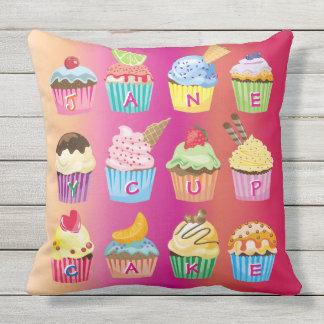 Cupcakes Monogram Delicious Sweet Baked Goodies Throw Pillow