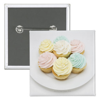 Cupcakes on White Plate 2 Inch Square Button