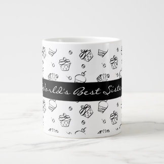 Cupcakes Outlines World's Best Sister Large Coffee Mug