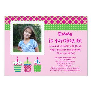 Cupcakes Photo Birthday Girl Invitation