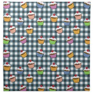 Cupcakes plaid pattern napkin