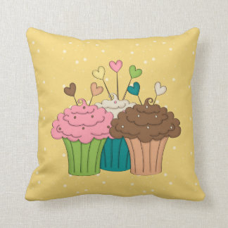 Cupcakes, Polkadots and Hearts Throw Pillow