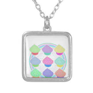 Cupcakes Silver Plated Necklace