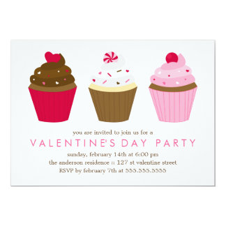 """Cupcakes Valentines Day Party 5"""" X 7"""" Invitation Card"""