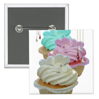 Cupcakes with Bling! 2 Inch Square Button