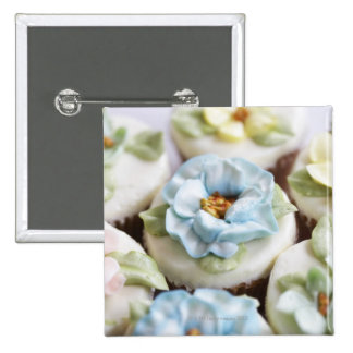 cupcakes with flower icing 2 inch square button