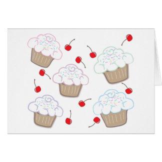 Cupcakes with Pastel Sprinkles & Cherries Card