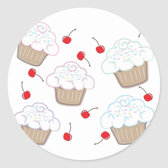 Cupcakes with Pastel Sprinkles & Cherries Classic Round Sticker