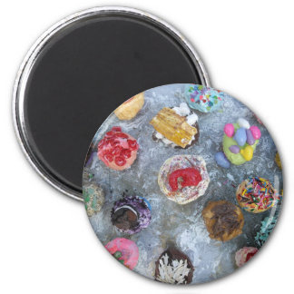 cupcakes with toppings sprinkles art painting 2 inch round magnet