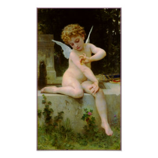 Cupid and butterfly by Bouguereau Poster
