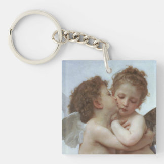 Cupid and Psyche as Children Double-Sided Square Acrylic Keychain