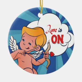 Cupid archer turn Love is On  Pop-Art Ceramic Ornament