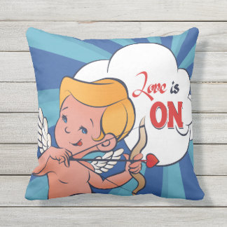 Cupid archer turn Love is On  Pop-Art Outdoor Pillow