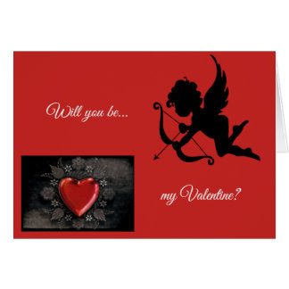 Cupid arrow heart will you be my Valentine card
