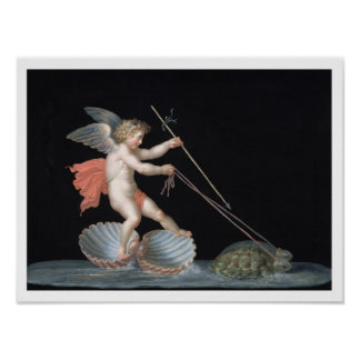 Cupid being led by Tortoises (oil on panel) Poster