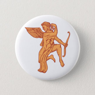 Cupid Bow Drawing Arrow Mono Line 2 Inch Round Button