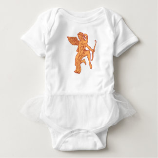 Cupid Bow Drawing Arrow Mono Line Baby Bodysuit