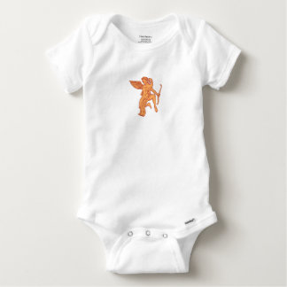 Cupid Bow Drawing Arrow Mono Line Baby Onesie