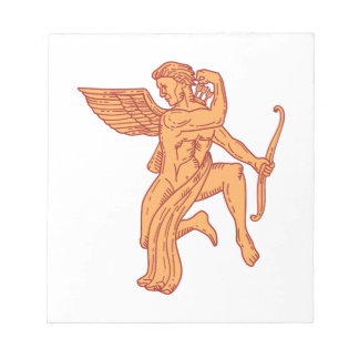 Cupid Bow Drawing Arrow Mono Line Notepad