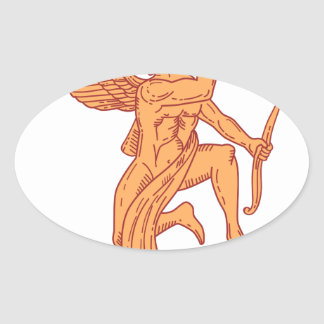 Cupid Bow Drawing Arrow Mono Line Oval Sticker
