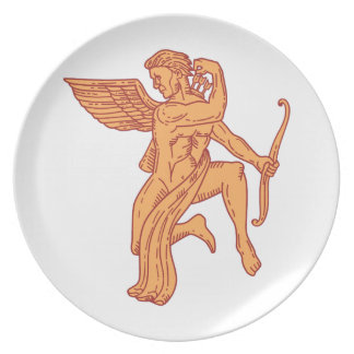 Cupid Bow Drawing Arrow Mono Line Plate