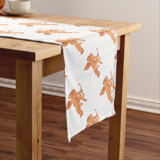 Cupid Bow Drawing Arrow Mono Line Short Table Runner