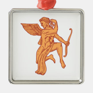 Cupid Bow Drawing Arrow Mono Line Silver-Colored Square Ornament