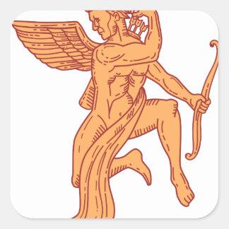 Cupid Bow Drawing Arrow Mono Line Square Sticker