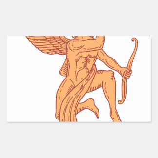 Cupid Bow Drawing Arrow Mono Line Sticker