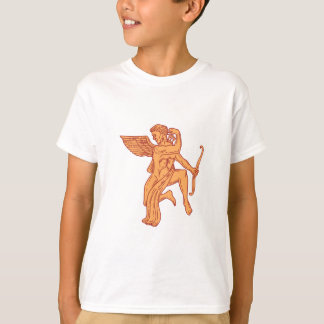 Cupid Bow Drawing Arrow Mono Line T-Shirt